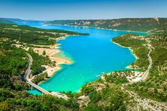 Verdon gorge and St Croix lake in background, Provence, France Royalty Free Stock Photo
