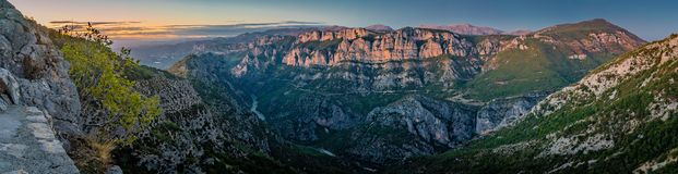 Verdon gorges at sunset Royalty Free Stock Images