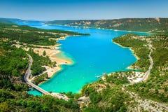Verdon-Schlucht- und Stcroix See im Hintergrund, Provence, Frankreich Lizenzfreies Stockfoto