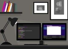 Verdoppeln Programmierungskodierungsnetz mit zwei Monitoren Stockbild