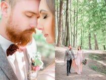 Verdoppeltes Bild des schönen Bräutigams gehend mit einer Braut Stockfoto