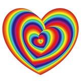 Verdraaid spectrum van hartvormen over wit Royalty-vrije Stock Afbeelding