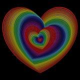 Verdraaid spectrum van hartvormen over zwarte Royalty-vrije Stock Afbeeldingen