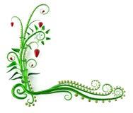 verdraaide groene bloemenhoek met aardbeien vector illustratie