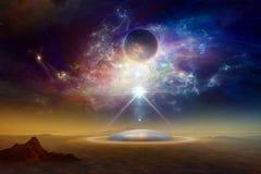 Verdraaide melkweg, donkere planeet, vreemdelingen ruimteschip royalty-vrije stock foto's