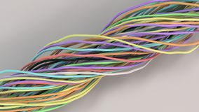 Verdraaide multicolored kabels en draden op witte oppervlakte Royalty-vrije Stock Afbeeldingen