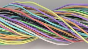 Verdraaide multicolored kabels en draden op witte oppervlakte Stock Fotografie