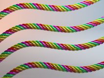 Verdraaide multicolored plastic 3d kabels Royalty-vrije Stock Afbeeldingen