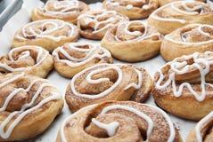 Verdraaide naar huis gemaakte kaneelbroodjes Eigengemaakt baksel Royalty-vrije Stock Afbeeldingen
