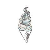 Verdraaide roomijskegel Gestileerd dessert Vector illustratie Zoete dessertachtergrond Royalty-vrije Stock Afbeeldingen