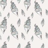 Verdraaide roomijskegel Gestileerd naadloos patroon Vector illustratie Zoete dessertachtergrond Stock Foto