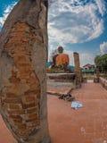 Verdragende Boedha in Wat Phia Wat Xieng Khuang, Laos stock foto's