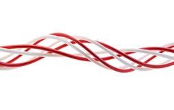 Verdrehen der roten und weißen Zeichenketten Stockbild