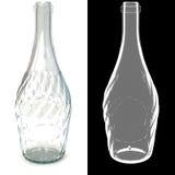 Verdrehte leere transparente Glasflasche Stockfotos
