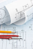 Verdrehte technische Zeichnung Stockfoto