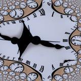 Verdrehte Uhr der Zeit mit abstrakter Beschaffenheit der römischen Ziffern stockbilder