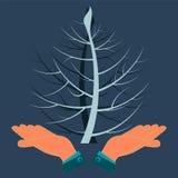 Verdrehter Baum zwei in seinen Händen lizenzfreie abbildung