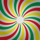 Verdrehter Hintergrund der abstrakten mehrfarbigen drei Farbgestreiften Spirale Entwerfer Evgeniy Kotelevskiy lizenzfreie abbildung