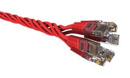 Verdrehter roter Nettodraht auf weißem Hintergrund Stockbild