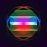 Verdrehtes Regenbogenelement auf schwarzem Hintergrund Stockbild