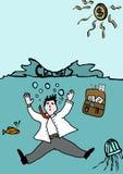 Verdrink door crisis Stock Afbeeldingen