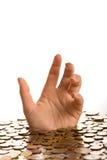 Verdrinking in schuldconcept Stock Afbeelding