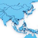 Verdrängte Karte von Asien mit Landesgrenzen Stockbilder