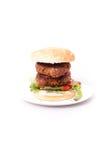 Verdubbel rundvleeshamburger Stock Foto's