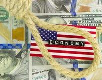 Verdugo en la economía de los E.E.U.U. Imagen de archivo libre de regalías