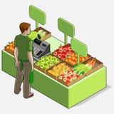 Verdulero isométrico Shop - dueño del hombre - vista posterior que coloca Peop stock de ilustración