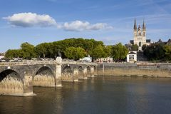 Verdun bridge and cathedral, Angers Stock Image