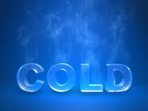 Verdunstendes eisiges kaltes enscription auf einem blauen Studio Lizenzfreie Stockfotografie