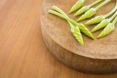 Verdura alba dell'ipomoea sui precedenti di legno Immagini Stock