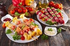 Verdura arrostita e carne arrostita Fotografia Stock
