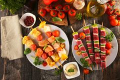 Verdura arrostita e carne arrostita, barbecue3 Fotografie Stock Libere da Diritti