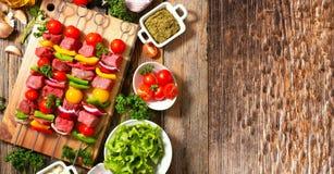 Verdura arrostita e carne arrostita, barbecue6 Fotografia Stock