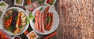Verdura arrostita e carne arrostita, barbecue Fotografia Stock