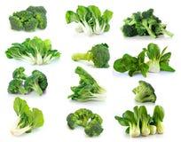 Verdura choy del bróculi y de Bok en el fondo blanco fotos de archivo