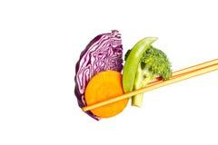 Verdura con le bacchette Fotografia Stock