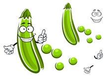 Verdura de vaina de guisante verde de la historieta Fotografía de archivo libre de regalías