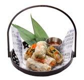 Verdura dei rotoli di primavera da carta di riso immagini stock