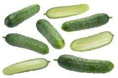 Verdura del cetriolo su bianco Fotografie Stock