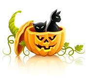 Verdura della zucca di Halloween con i gatti neri Immagine Stock