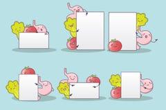Verdura e stomaco con il tabellone per le affissioni Immagine Stock