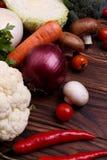 Verdura flatlay Ingredientes alimentarios sanos Verduras orgánicas del granjero fotografía de archivo libre de regalías