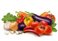 Verdura fresca con il cibo sano dei fogli Fotografia Stock