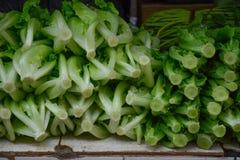 Verdura fresca de la lechuga en el mercado rural imagen de archivo