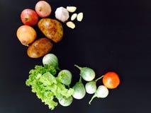 Verdura fresca su fondo nero Fotografia Stock Libera da Diritti