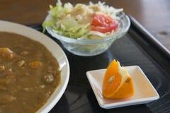 Verdura, fruta y curry Foto de archivo