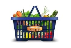 Verdura organica naturale in cestino della spesa con il cavolfiore e broccoli e carote royalty illustrazione gratis